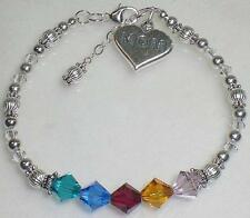 Sterling Silver Mom Heart Charm Birthstone Crystal Bracelet 73 Color Options