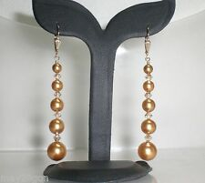 Champagne Bright Gold Crystal Pearl 14K GF Earrings Made With Swarovski Elements