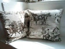 """HORSE TOILE CUSHION COVER piped unpiped 12"""" - 24"""" choice BROWN CREAM linen mix"""