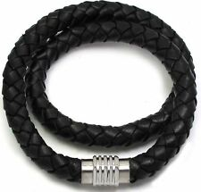 8mm Black Braided Genuine Leather Hexagon Steel Magentic Clasp Necklace
