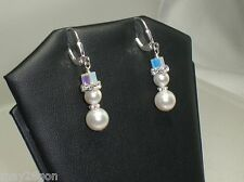 Snowman Crystal Rhinestone White Pearl Earrings Made With Swarovski Elements