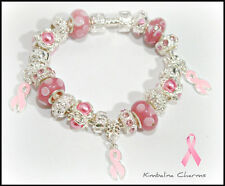 EUROPEAN STYLE CHARM BEAD BRACELET awareness pink ribbon