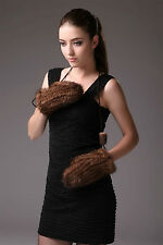 0368 Genuine Knitted Women Knitted Mink Fur Glove Mittens