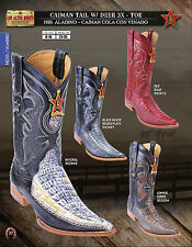 Los Altos 3X Toe Genuine Caiman&Deer Mens Western Cowboy Boots Diff.Colors/Sizes