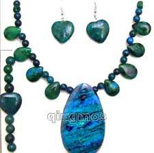Big 30*50mm drop pendant Necklace/heart bracelet & earring chrysocolla set-5571