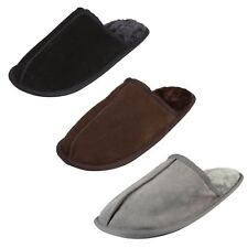 Mens EGO Snugg Real Suede Slip On Mule Slippers Faux Fur Lining TPR Hard Sole