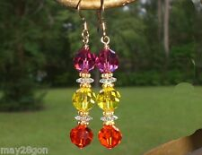 Fuchsia Yellow Orange 14K G.F. Crystal Earrings Made With Swarovski Elements