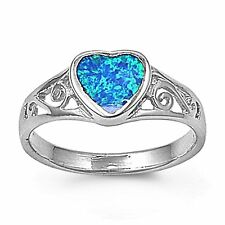 Created Blue Opal Inlay Heart Filigree Ring Sterling Silver