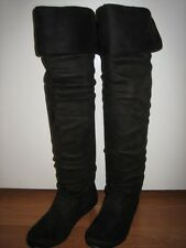 Suede Slouch Thigh High Fashion Dress Low Heel Boots ALL Sz -Tammy-57