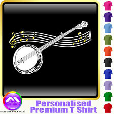 Banjo Curved Stave - Personalised Music T Shirt 5yrs-6XL MusicaliTee 2