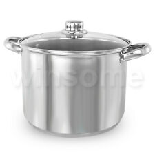 Deep Induction Stainless Steel Stock Soup Stew Pot Pan Stockpot with Glass Lid