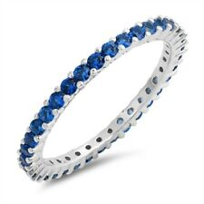 .925 Sterling Silver Stackable Simulated Blue Sapphire CZ Eternity Promise Ring