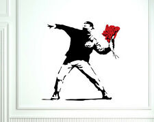 Striking intriguing modern art Banksy Flower Thrower wall vinyl sticker decal UK