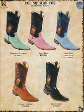 Wild West Square-Toe Genuine Eel Men's Cowboy Western Boots Diff. Colors/Sizes