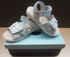 Max & May Girls Posey Flower Pastel Blue & White Leather Riptape Sandals *New In
