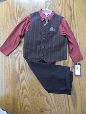 Boys Dockers 4 Piece Suit Dress Church/Easter/Wedding Red/Gray/red Tie
