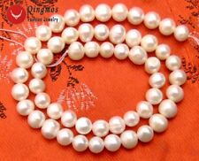 "SALE 7-8mm White natural Freshwater pearl Loose Beads 15""-los38"