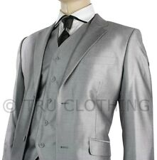 Mens Suit Silver Light Grey Shiny 3 Piece Work or Party Suit UK Short Reg & Long