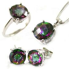 925 Silver 11.6ct Rainbow Topaz Set Ring Earrings Pendant Size 6 7 8 9 Round Cut