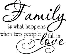 FAMILY WHAT HAPPENS WHEN TWO PEOPLE FALL IN LOVE VINYL WALL DECOR DECAL