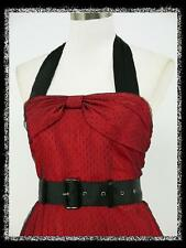dress190 RED HALTER 40s 50s ROCKABILLY RETRO COCKTAIL PROM PARTY VINTAGE DRESS