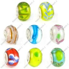 Wholesale Lot 8pcs Handmade Lampwork Glass European Bracelet Spacer Charm Beads
