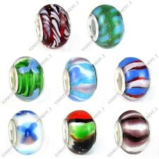 Wholesale 8pcs Mix Handmade Lampwork Glass European Bracelet Spacer Charm Beads