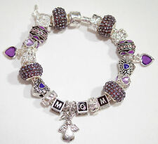 EUROPEAN STYLE CHARM BRACELET with BEADS  Mother's Day  lavender