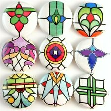 stained glass arts and crafts mission fridge magnet pin badge button cab charm