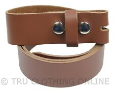 Mens 100% Real Leather Snap On Belt Strap Brown Trousers or Jeans For Buckles I