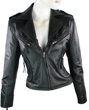 Ladies Short Leather Jacket Fitted Biker Style Black Retro