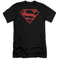 Superman Red On Black Shield DC Comics Officially Licensed Fitted Shirt S-2XL