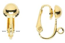 10 OR 100 Gold Plated Steel Clip On Earrings with Half Ball  *16mm