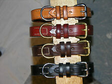 "Leather dog collar, d ring with a place for tags. 3/4"" wide"