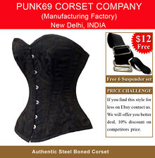 New Fully Steel Boned Sweet Heart Black 300 Heavy Brocade Tight Lacing Corset