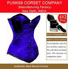 Sturdy Steel Busk Fully Steel Boned Blue Satin Tight Lacing Long Overbust Corset