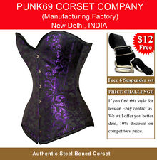 New Fully Steel Boned Extra Long Purple 200 Brocade Tight Lacing Corset EB-9051