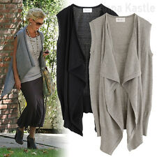 AnnaKastle New Womens Blanket Wrap Draped Front Cardigan Sweater Vest Gray Black