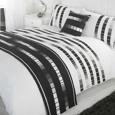 Madison Trinity Black & White Patterned Bed in a  Bag Duvet Quilt Cover Beddi...