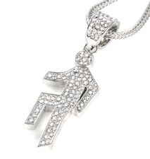 "ICED OUT LMFAO SHUFFLIN PENDANT & 36"" CHAIN NECKLACE HIPHOP PARTY ROCK SHUFFLING"