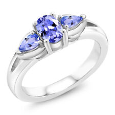0.85 Ct 3-Stone Oval and Pear Shape Genuine Tanzanite .925 Sterling Silver Ring
