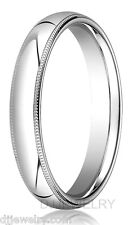 10K White Gold Wedding Band Ring 4mm S7-7.75 Milgrain Comfort Fit 2mm Thick