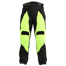 Hi-Vis Black Yellow CE Armoured Waterproof Motorcycle Motorbike Trousers