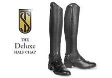 New Tredstep Deluxe Leather Half Chaps Black All Sizes Free Shipping