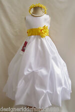 NWT WHITE YELLOW INFANT TODDLER WEDDING QUINCEANERA PARTY FLOWER GIRL DRESS