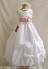 NWT WHITE PINK INFANT TODDLER PAGEANT BRIDAL QUINCEANERA PARTY FLOWER GIRL DRESS