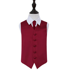 New DQT Plain Burgundy Boy's Wedding Waistcoat &Cravat  Age 2-14 years Available