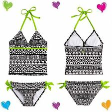 NWT Justice Girls Size 6 BLACK & WHITE PATTERN Tankini Swimsuit 2-Piece $39 Cute