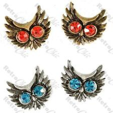 RETRO rhinestone SCARY OWL STUD EARRINGS red/blue eyes vintage brass/silver pltd