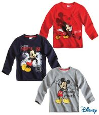 New Boys Disney Mickey Mouse Long Sleeve Mickey Mouse Top T-Shirt 2-8 Years